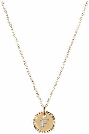 David Yurman 18kt yellow gold Initial F diamond charm necklace