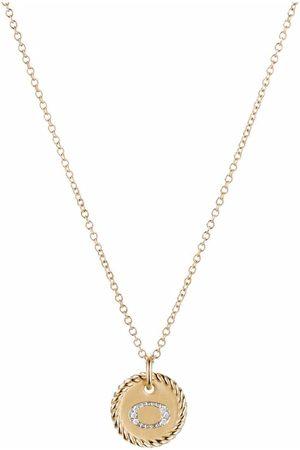 David Yurman 18k yellow gold Initial O diamond charm necklace