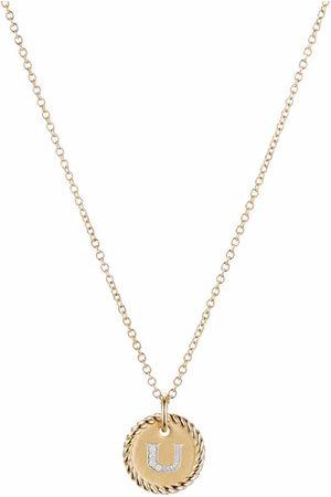 David Yurman 18kt yellow gold Initial U diamond charm necklace