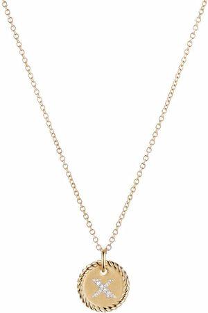 David Yurman 18kt yellow gold Initial X diamond charm necklace