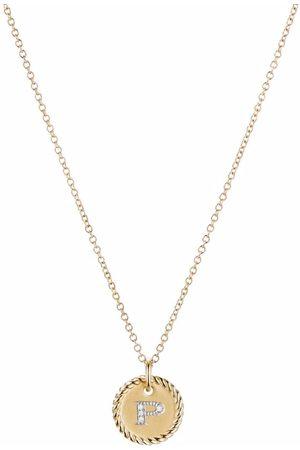 David Yurman 18kt yellow gold Initial P diamond charm necklace