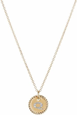 David Yurman 18kt yellow gold Initial Q diamond charm necklace