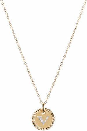 David Yurman Ženy Náhrdelníky - 18kt yellow gold Initial V diamond necklace