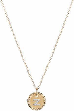 David Yurman 18kt yellow gold Initial Z diamond charm necklace