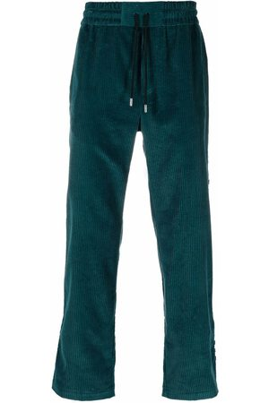 Just Don Checked-stripe corduroy trousers