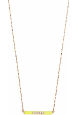 Djula 14kt rose gold enamel diamond necklace