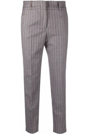 Peserico Striped slim-fit cropped trousers
