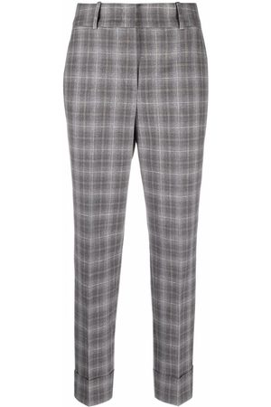 PESERICO SIGN Plaid-check slim-fit trousers