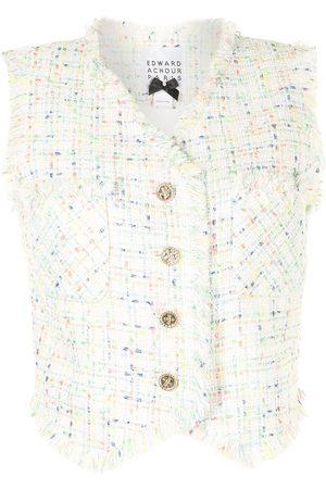 Edward Achour Paris Cropped tweed waistcoat