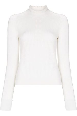 See by Chloé Open-knit frilled-neck knitted top