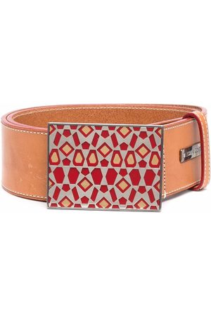Gianfranco Ferré 1990s geometric-printed buckle leather belt
