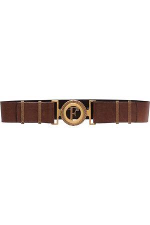 Gianfranco Ferré 1990s cut-out logo buckle leather belt