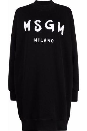 Msgm Ženy Mikiny bez kapuce - Brushstroke-logo sweatshirt dress
