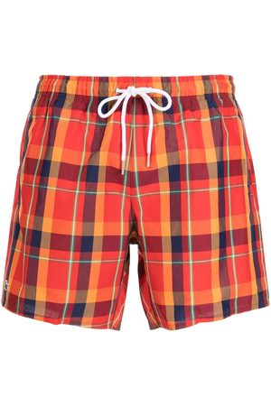 Lacoste Check-print drawstring swim shorts