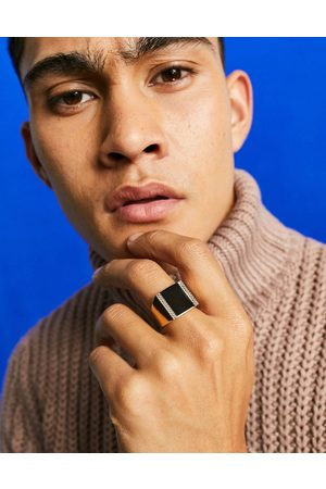 ASOS DESIGN Oversized signet ring with black agate stone in gold tone