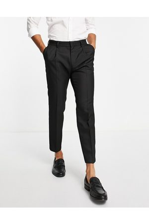 Topman Tapered pronounced twill trousers in black