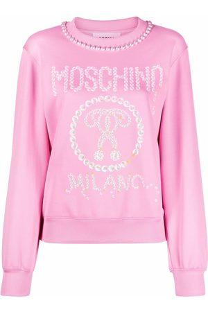 Moschino Logo-print pearl-embellished sweatshirt dress