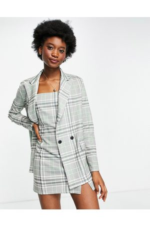ASOS Jersey double breasted suit blazer co-ord in preppy check-Multi