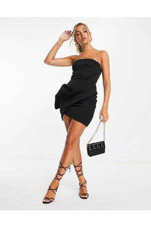 ASOS Bandeau tuck bodycon mini dress in black-Multi