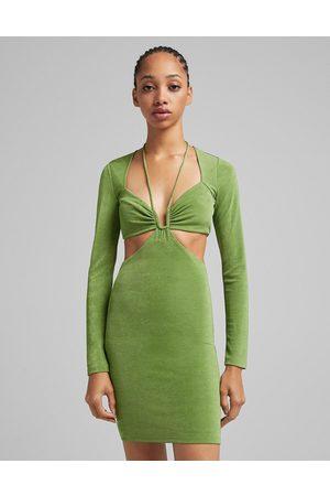Bershka Ženy Volnočasové - Cut out detail square neck mini dress in green
