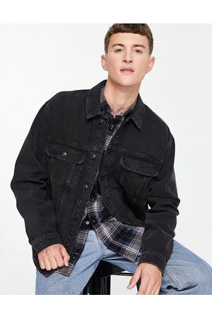 Topman Muži Džínové bundy - Oversized fit denim jacket in washed black