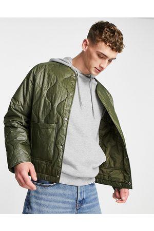 ASOS DESIGN Quilt liner shacket in khaki-Green