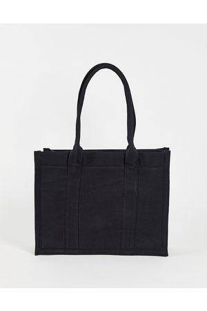 ASOS DESIGN Structured tote bag in heavyweight black canvas with internal wallet