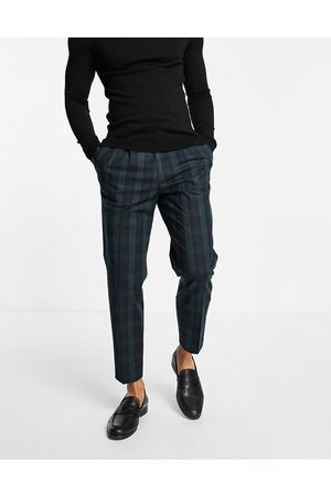River Island Muži Chino - Pleated smart trousers in blackwatch check-Green