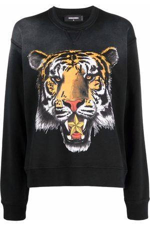 Dsquared2 Ženy Mikiny bez kapuce - Tiger-print cotton sweatshirt