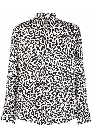 Saint Laurent Yves-collar sparkle-print long-sleeve shirt