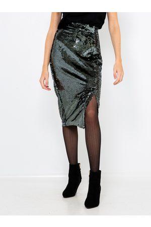 Camaïeu Třpytivá pouzdrová sukně ve stříbrné barvě s flitry