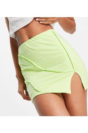 AsYou Ženy Krátké - Asymmetric co-ord split mini skirt in lime-Green