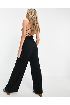 Topshop Square neck going out jumpsuit in black