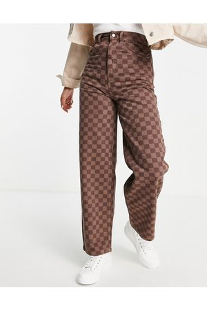 Topshop Baggy organic cotton jean in brown checkerboard