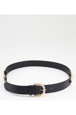 ASOS Curve waist and hip jeans belt with chain detailing in black