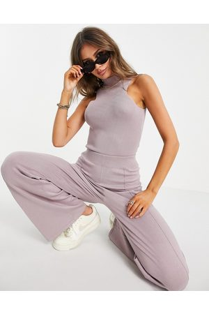 ASOS Co-ord knitted body with racer detail and open back in lilac-Neutral
