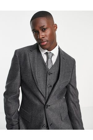 ASOS Muži Saka - Wedding super skinny suit jacket in charcoal herringbone-Grey