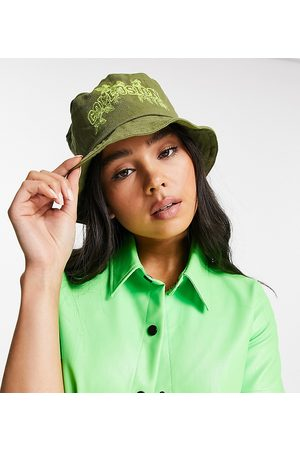 COLLUSION Ženy Klobouky - Leaf print bucket hat in khaki-Green