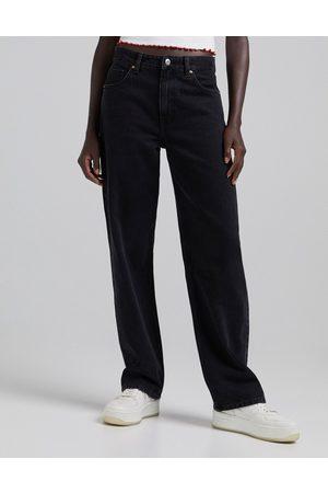 Bershka 90's baggy jean in black