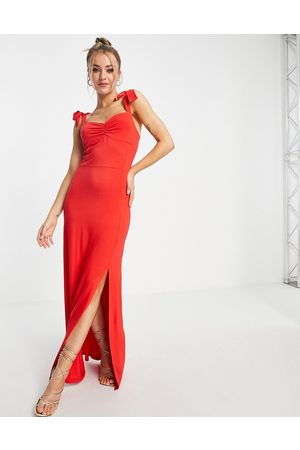 Lipsy London Ženy Maxi - Tie strap spilt hem maxi dress in red