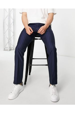 French Connection Muži Chino - Slim fit striped trousers-Navy
