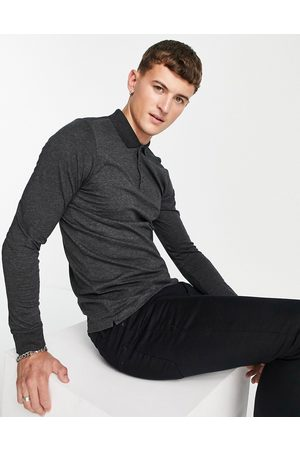 French Connection Long sleeve polo in charcoal-Grey