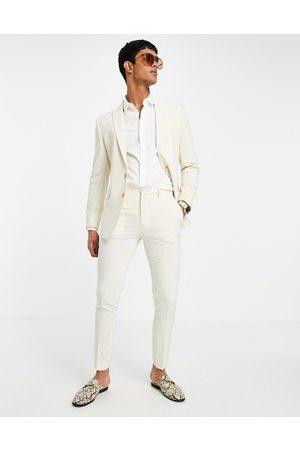 ASOS Muži Úzké nohavice - Super skinny suit trousers in stone crosshatch-Neutral
