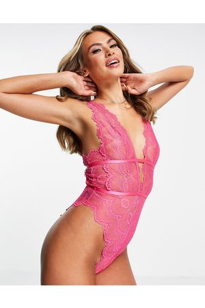 ASOS Ženy Body - Rosie lace soft plunge body in hot pink