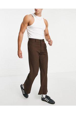 ASOS Muži Chino - Flared smart trouser in brown micro check
