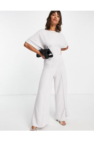 ASOS Ženy Overaly dlouhé - Jersey corset waist wide leg jumpsuit in pale grey-White