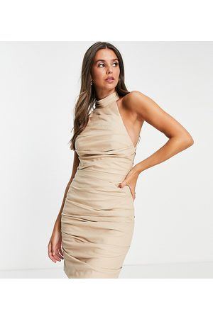 ASOS ASOS DESIGN Tall Halter pleated linen mini dress with lace up back-Neutral