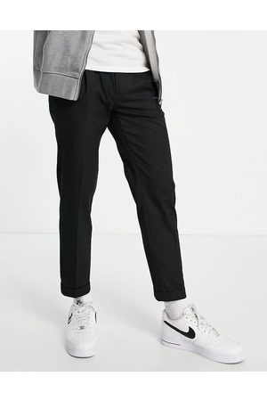 Topman Muži Chino - Smart tapered trousers with turn up in black