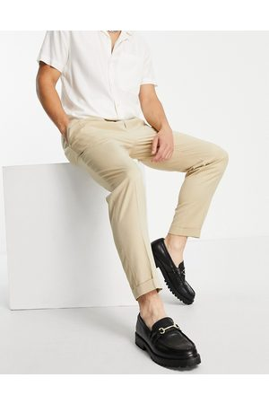 Topman Muži Chino - Smart tapered trousers with turn up in ecru-White