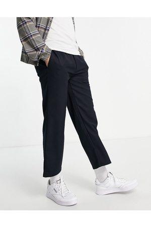 Topman Muži Chino - Wide leg crop twill trousers in navy